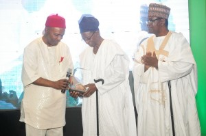 HE Dr. Ogbonnaya Onu  presenting award to Professor Oyediran while Emeritus Professor Gadzama watches on 1