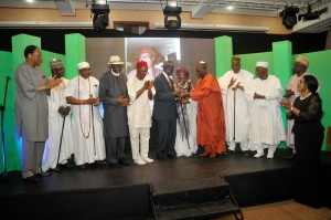 Hon Justice Karibi-Whyte White receives his plaque from Prof Ibrahim Gambari