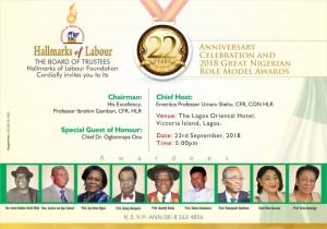 Invitation CardHLF 22nd Anniversary & Role Model Awards 2018