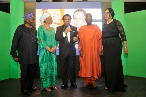 Professor Bolaji Akinyemi with Dr Christopher Kolade, Professor Joy Ogwu, HE Professor Gambari and Chief Patricia Otuedon-Arawore